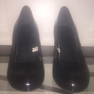 Black Leather-like 4 inches High Heels